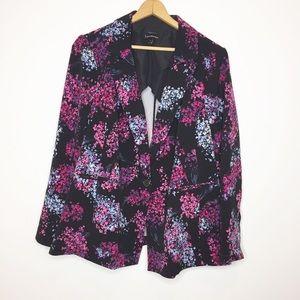 Lane Bryant black floral blazer size 24 pink